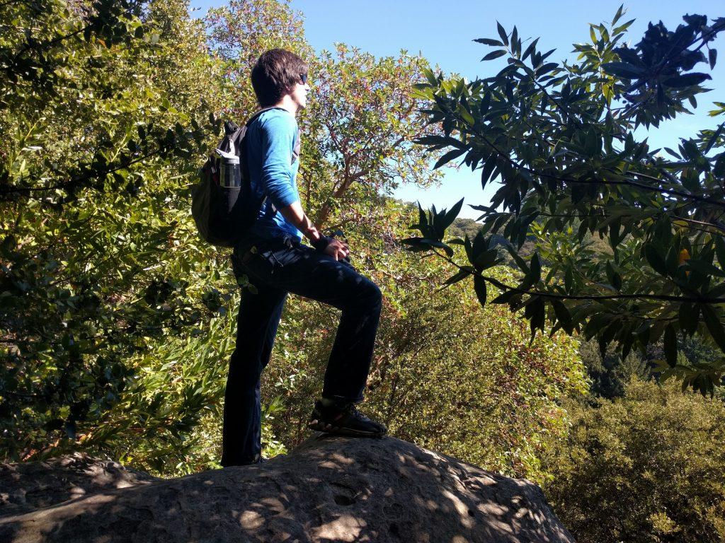 Corey on a rock
