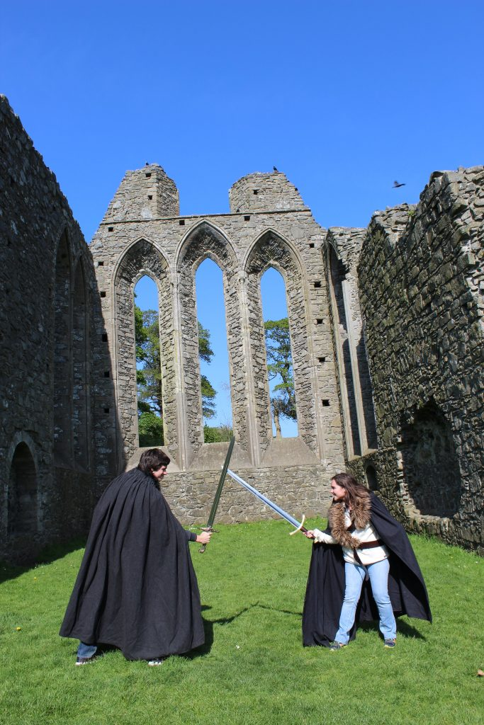 At the end of the tour, we all put on replica cloaks, and a few of us got prop swords to hold. Corey has Oathkeeper, and I have Robb Stark's sword, which happened to be the most expensive prop they had!