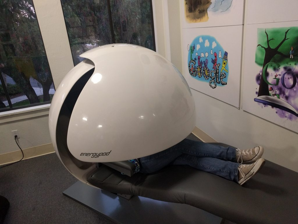 Aiden tried out a nap pod