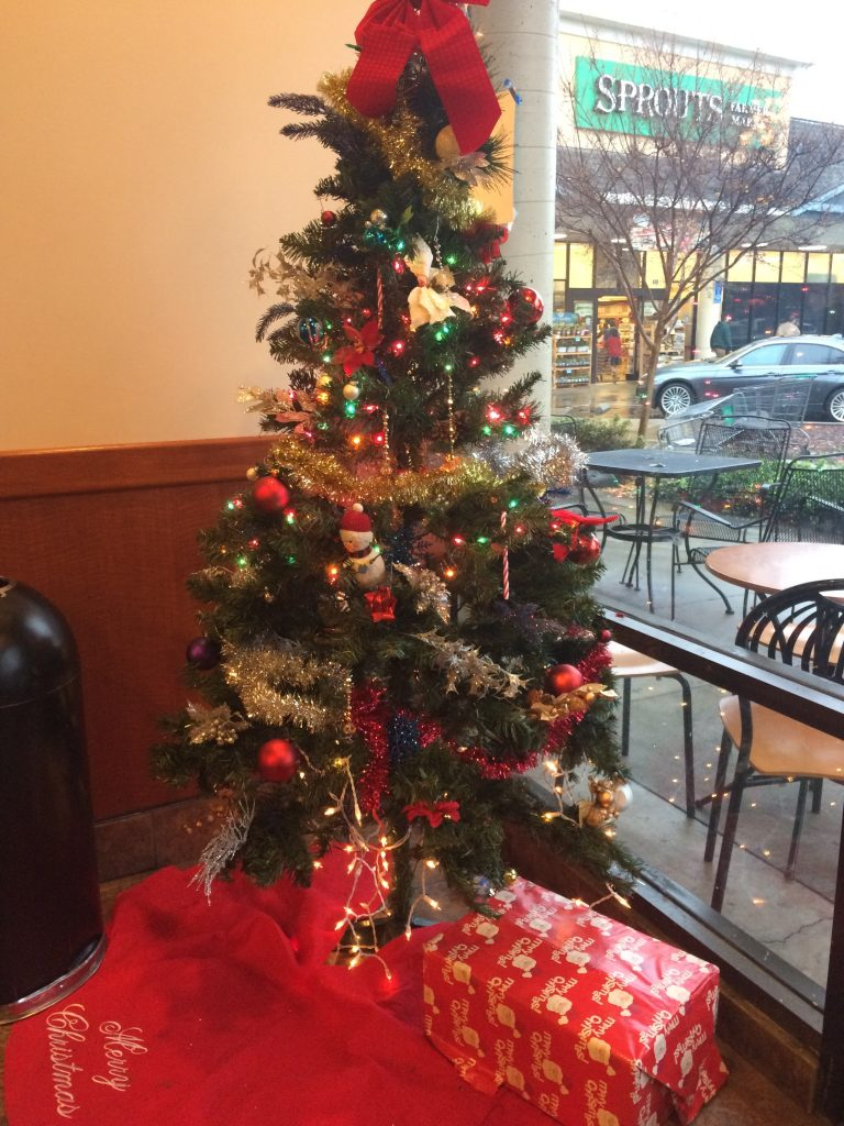 Christmas tree set up at Coldstone